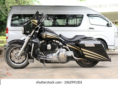 CHIANGMAI,THAILAND,JUNE 15 2017 : Harley-Davidson Ultra Classic Electra Glide motorcycle parked on a city street at Chiangmai, Thailand.
