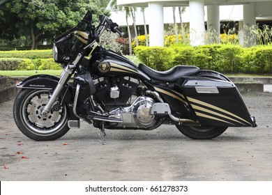 CHIANGMAI,THAILAND,JUNE 15 2017 : Harley-Davidson Ultra Classic Electra Glide motorcycle parked on a city street at chiang mai,thailand