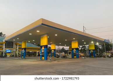 Chiangmai,Thailand-May 05, 2020 : SUSCO oil service station in Thailand, Fueling and gas locations for motorbikes and cars, Engine resting stations for long-distance vehicles, oil station.