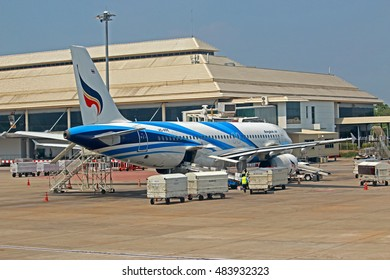 CHIANG-MAI-THAILAND-MAY 16 : Airport with many airplanes at Chiang Mai Airport on May 16, 2016 Chiage-Mai Province, Thailand.