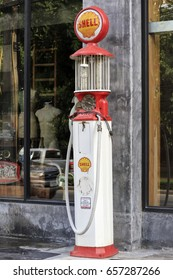 CHIANGMAI,THAILAND,MAY 27 2017 : vintage gasoline station gas pump in Antique store at chiang mai,thailand.