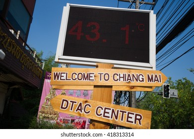 CHIANGMAI,THAILAND-MAY 5,digital board display the temperature at 43 degree Celsius at Chiangmai downtown on may 5,2016 the temperature was increasing,it was effect of deforest in north part Thailand