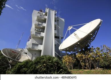 CHIANGMAI,THAILAND,SEPTEMBER 27 2016:Large Satellite Dish at CAT telecom chiangmai