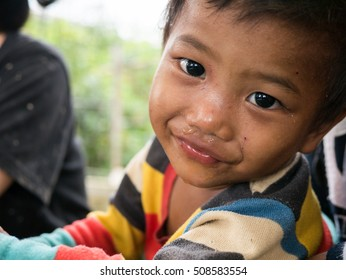 CHIANGRAI, THAILAND - August 12, 2016: Unidentified child orphans in Ban nana  house. Ban nana Orphanage take care children from Tribal Problem family.