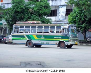 CHIANGRAI, THAILAND- JULY 22 2007: Greenbus company bus route Maesai and Chiangrai. Budget fan bus, Photo at Maesai bus station, thailand.