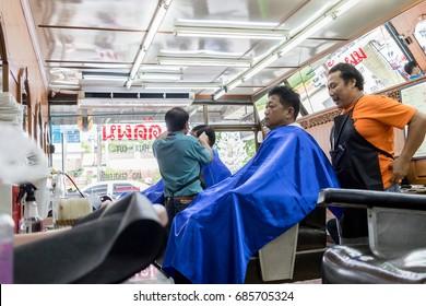 ChiangRai - THAILAND: July 28,2017 : Barber shop in Thailand-Chiang Rai , Thailand