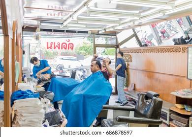 ChiangRai - THAILAND: July 30,2017 : Barber shop in Thailand-Chiang Rai , Thailand