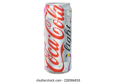 CHIANGRAI, THAILAND - NOVEMBER 4: Coke light can in volley ball played girl design, was taken on November 4, 2014 in Chiangrai, Thailand.