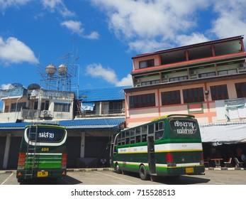 CHIANGRAI, THAILAND -  SEPTEMBER 14, 2017:  Bus at Chiang Sean, Thailand.