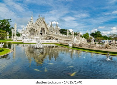Chiangrai, Thailand - September, 17 : Wat Rongkhun is the most beautiful white temple, in Chiangrai, Thailand.