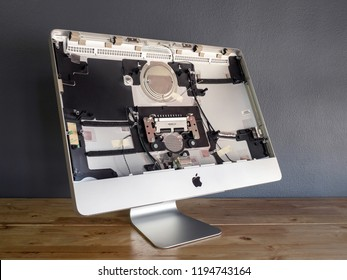 Chiangrai, Thailand: September 19, 2017 - The disassembled Apple iMac computer body cover to make repairs or replace new parts in service shop