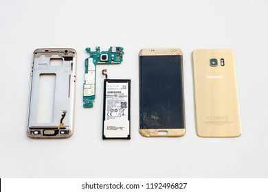 Chiangrai, Thailand: September 20, 2017 - Close-up image of inside disassembled broken Samsung Galaxy S7 edge smartphone preparing to repair