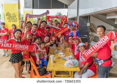 ChiangRai, the THAILAND-7: 9: 2017: Fan Club of SINGHA Chiangrai United in Thai Premier League (TPL) between SINGHA ChiangRai. UNITED (Orange) Vs THAI HOND LADKABANG FC  3-1 that SINGHA STADIUM.