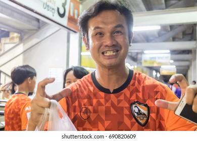 ChiangRai, the THAILAND-August: 5: 2017: Fan Club of SINGHA Chiangrai United in Thai Premier League (TPL) between SINGHA ChiangRai. UNITED (Orange) Vs UBOM UMT UNITED (White) 1-1 that SINGHA STADIUM.