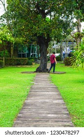CHIANGRAI THAILAND-NOVEMBER 11:Men can not identify themselves. Walk into the garden under the big tree. on November 11,2018 at Mae laos, Chiangria City, Thailand