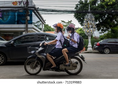 ChiangRai THAILAND-September:11:2017 :students ride to school in ChiangRai. Thailand.