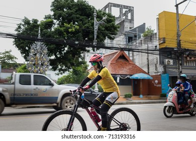 ChiangRai THAILAND-September:11:2017  Tourist cycling In The ancient Landmark street In ChiangRai Thailand.