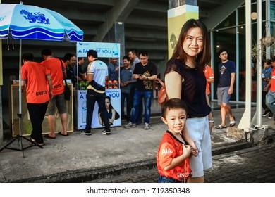 ChiangRai the, THAILAND - 9: 20: 2017: Fan Club of SINGHA Chiangrai United in Thai Premier League (TPL) between SINGHA. ChiangRai. UNITED (Orange) Vs Sukhothai FC (White) 6-0 that SINGHA STADIUM.