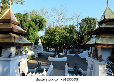 CHIANMAI - THAILAND - 15 JAN 2017 : Pagoda with blue clear skay at The Dhara Dhevi