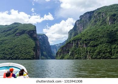 Chiapas / Mexico - 10/08/13: Tourists take Boat Tour through Sumidero Canyon on the Grijalva River