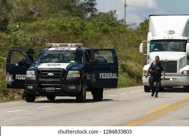 Chiapas, Mexico - March 15 2015: The federal police of Mexico controls the truck