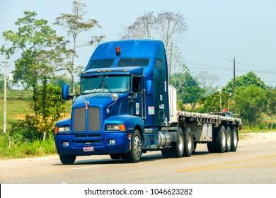 Chiapas, Mexico - May 24, 2017: Semi-trailer truck Kenworth T600 drives at the interurban road between Chetumal and Villahermosa.