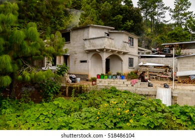 CHIAPAS, MEXICO - NOV 2, 2016: Old house in One of the maya villages in Chiapas state of Mexico. Here live the real people of the maya origin