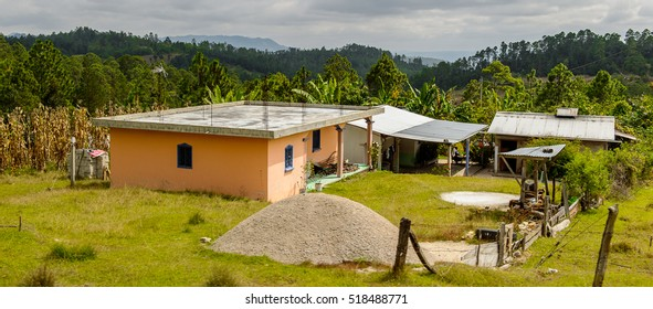 CHIAPAS, MEXICO - NOV 2, 2016: Wooden house in One of the maya villages in Chiapas state of Mexico. Here live the real people of the maya origin