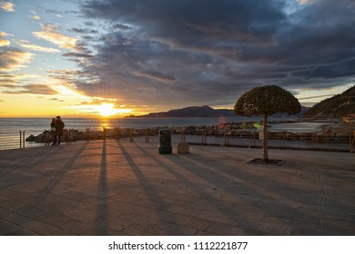 Chiavari - promenade at sunset - Portofino view - Liguria - Italy