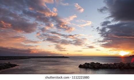 Chiavari - promenade at sunset - Portofino view - Liguria - Italy