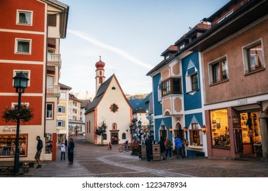Chiavenna, Italy - 5 October, 2017: Pedestrian area of Ortisei town ski resort in North of Italy.