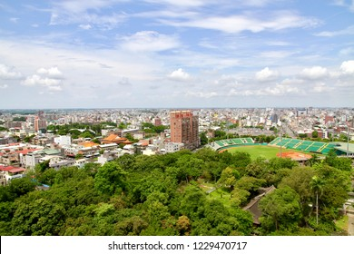 Chiayi City / Taiwan - Aug. 2, 2018: The aerial view of Chiayi City from the Chiayi Park.