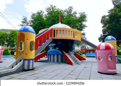 Chiayi City / Taiwan - Aug. 2, 2018: The UFO and space theme playground in Chiayi City.