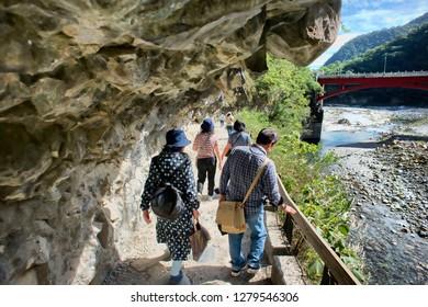 Chiayi County,Taiwan - Dec.3, 2018- Taroko National Park granite/marble walk through in the mountain walk way with breathtaking views.