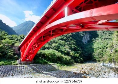 Chiayi County,Taiwan , Taroko National Park bridge and mountain walk way with breathtaking views.