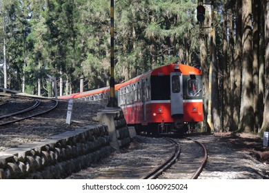 Chiayi, Taiwan - APRIL 5, 2008 : a train running on the Alishan Forest Railway in the Alishan National Scenic Area, Taiwan.