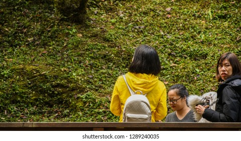 Chiayi , Taiwan - January 6, 2019 - Lots Of People In The Morning At Alishan National Scenic Area, Taiwan. The Alishan National Scenic Area Is Mountain Resort And Nature Reserve.