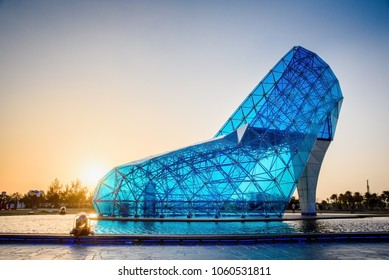 chiayi, Taiwan -  March 23 2018: A giant blue glass church shaped like a high-heeled shoe in Taiwan Chiayi