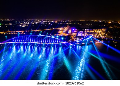 Chiayi, Taiwan - November 7th, 2019: aerial view of 3D laser show in Southern Branch of the National Palace Museum, Chiayi, Taiwan, Asia
