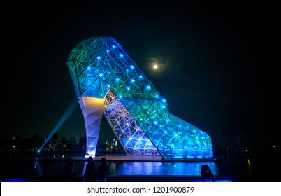 Chiayi , Taiwan - Sep 22, 2018: High-Heel Wedding Church. A giant blue glass church shaped like a high-heeled shoe in Chiayi, Taiwan. To commemorate The Blackfoot-Disease.