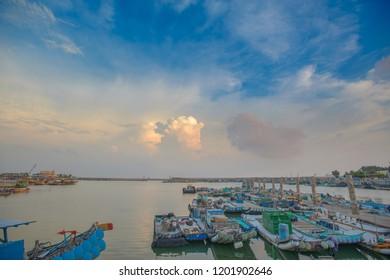 Chiayi , Taiwan - Sep 22, 2018: Dongshih Fisherman's Wharf. Dongshi Township, Chiayi County, Taiwan
