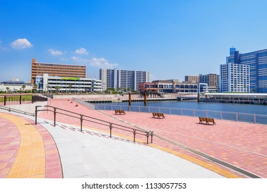 """CHIBA CITY, CHIBA / JAPAN - JUNE 25 2018 : Scenery of Chiba Harbor. It was registered as """"Minato Oasis"""" as a base for bustling in the area. Passenger terminals and commercial facilities are in place."""