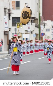 chiba, japan, 08/16/2019 , Women dancing on the first day of Myoken Taisai, a famous festival held in Chiba city every summer since1127. It last one week.