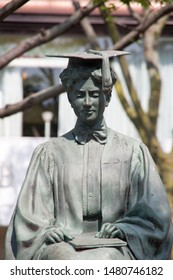 chiba, japan, 08/17/2019 , Statue of Helen Keller in Chiba central park, japan. She was the first deaf-blind person to earn a Baccchelor of Arts.