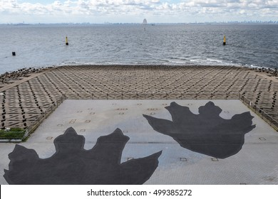 CHIBA, Japan - AUG 19, 2016: A capture of Godzilla's giant footprints in Umi Hotaru parking area in Tokyo Bay Aqua line, a promotional gimmick for 'Shin Godzilla' (Godzilla Resurgence).