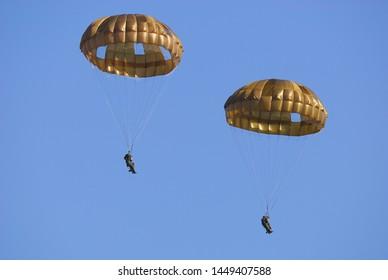Chiba, Japan - January 10, 2010:Japan Ground Self Defense Force Paratroopers.
