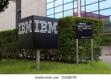CHIBA, JAPAN - July 21, 2017: A sign with the company's logo outside IBM's office building in Makuhari in Chiba City.