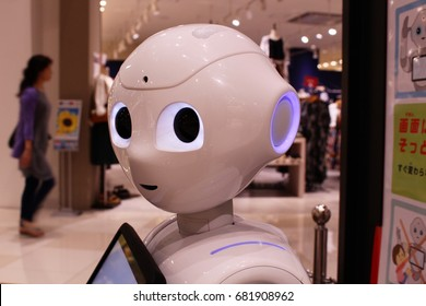 CHIBA, JAPAN - July 21st, 2017: Close-up of the head of a Softbank Pepper robot on customer service in Makuhari's Aeon Mall.