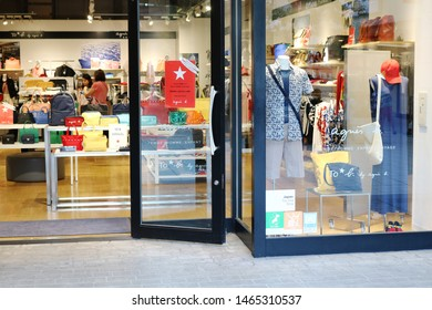 CHIBA, JAPAN - July 26, 2019: View of the front of an Agnes B store in an Mitsui outlet shoppinhg mall in Makuhari, Chiba City.