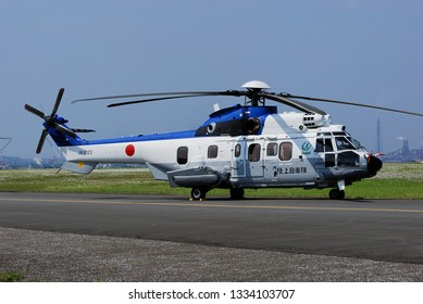 Chiba, Japan - June 06, 2010:Japan Ground Self Defense Force Airbus Helicopters EC-225LP Super Puma Mk II+ VIP transport helicopter.